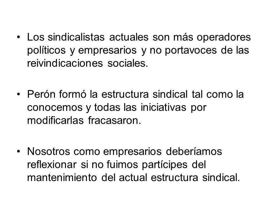 Los sindicalistas actuales son más operadores políticos y empresarios y no portavoces de las reivindicaciones sociales.