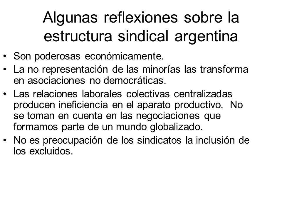 Algunas reflexiones sobre la estructura sindical argentina