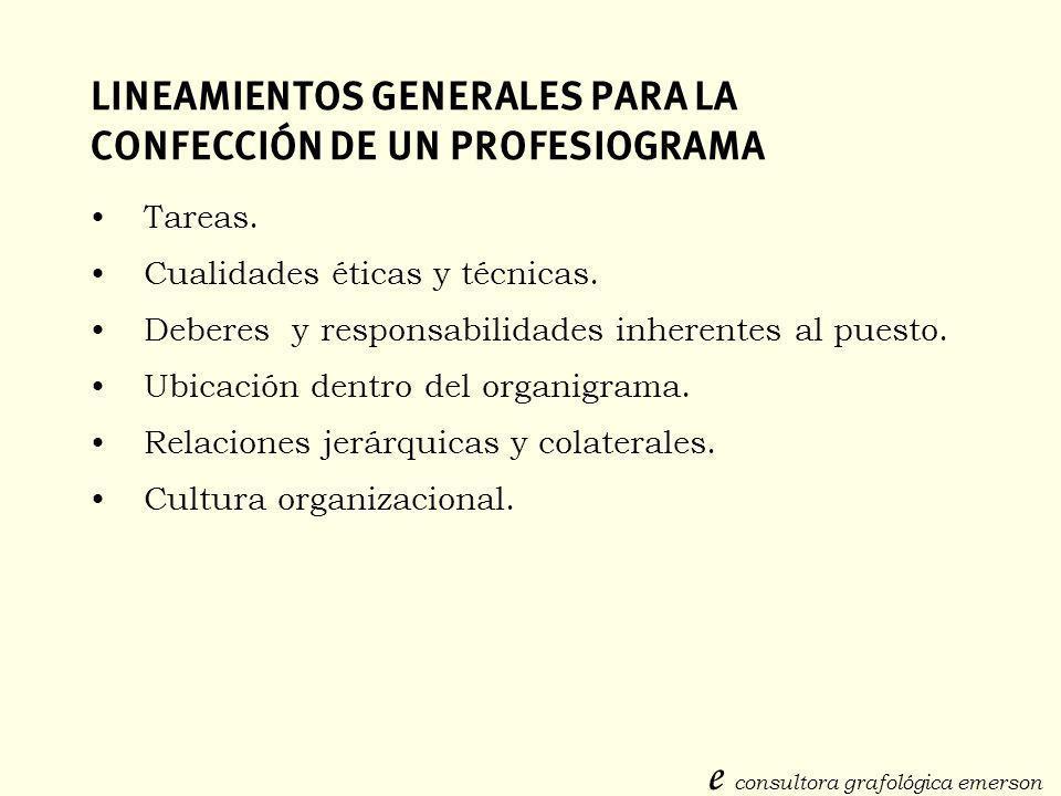 LINEAMIENTOS GENERALES PARA LA CONFECCIÓN DE UN PROFESIOGRAMA