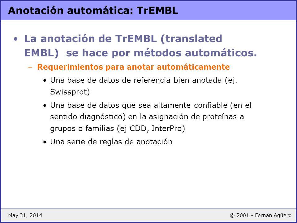 Anotación automática: TrEMBL