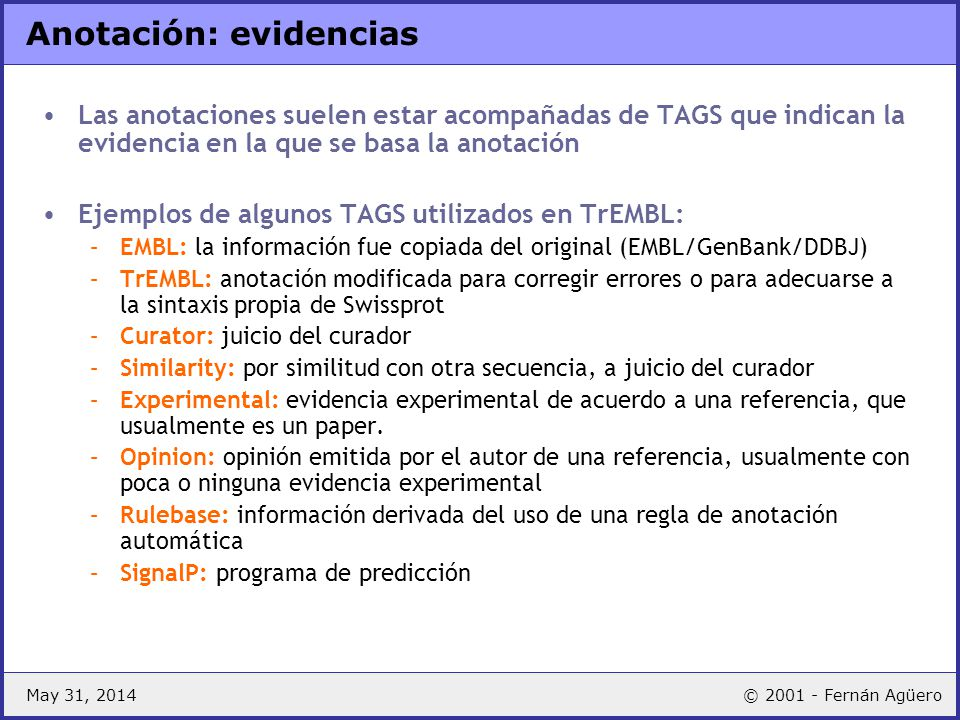 Anotación: evidencias