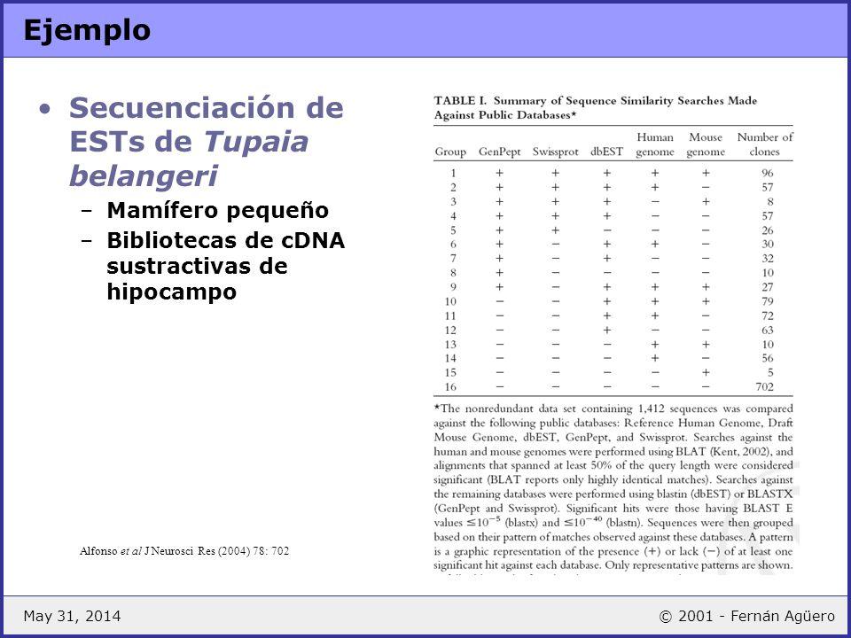 Secuenciación de ESTs de Tupaia belangeri