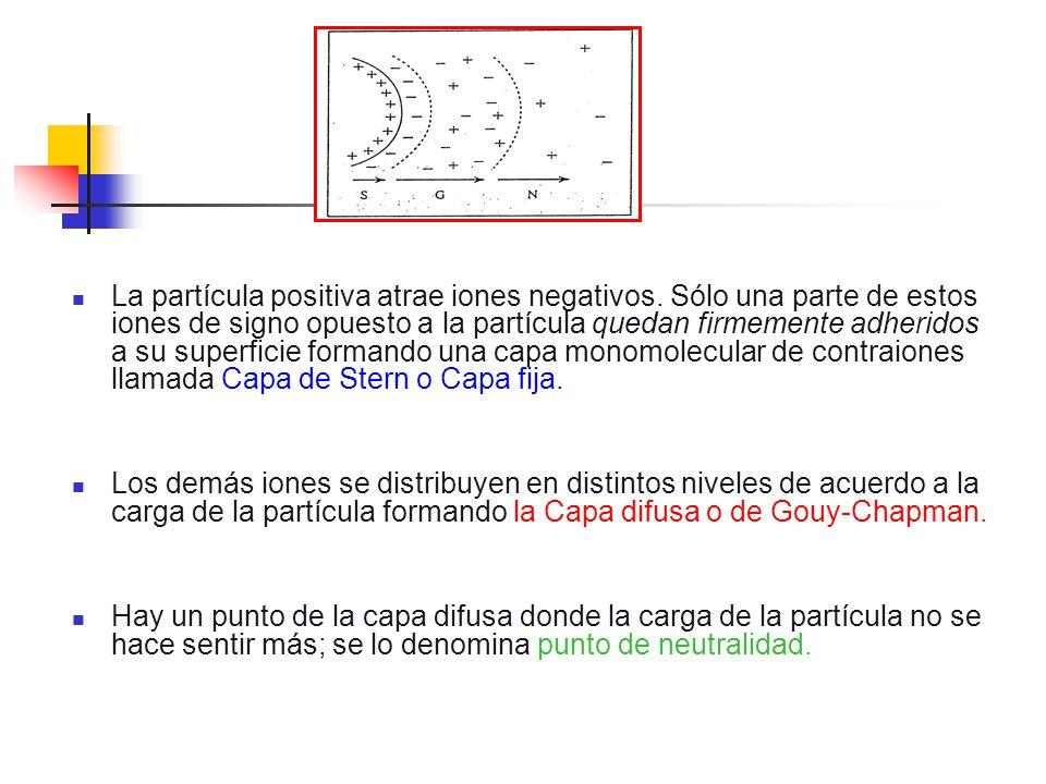 La partícula positiva atrae iones negativos