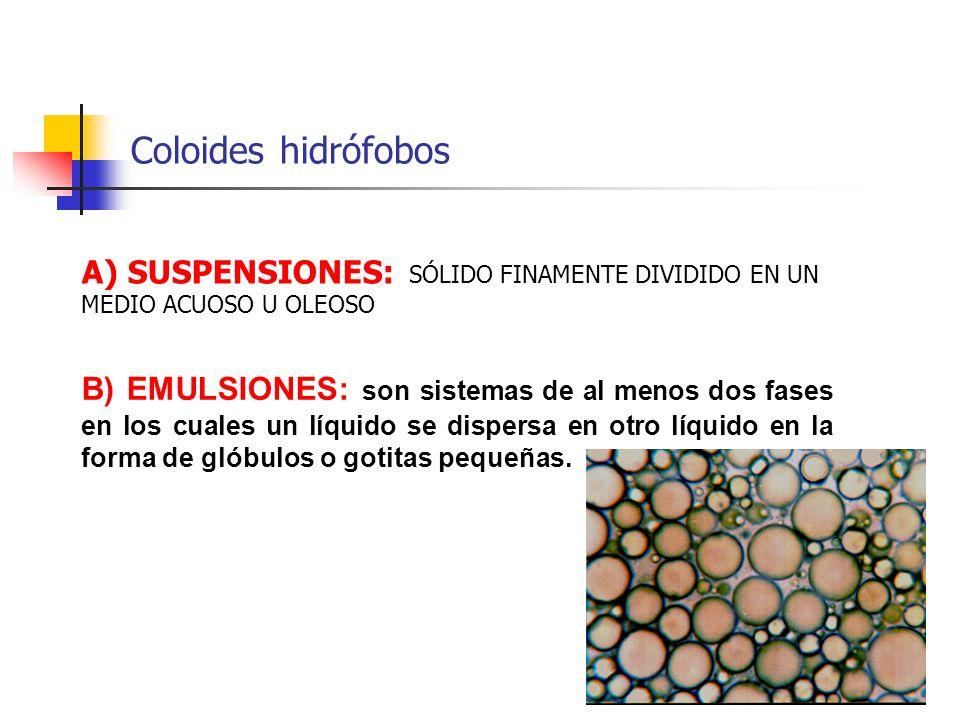 Coloides hidrófobos A) SUSPENSIONES: SÓLIDO FINAMENTE DIVIDIDO EN UN MEDIO ACUOSO U OLEOSO.