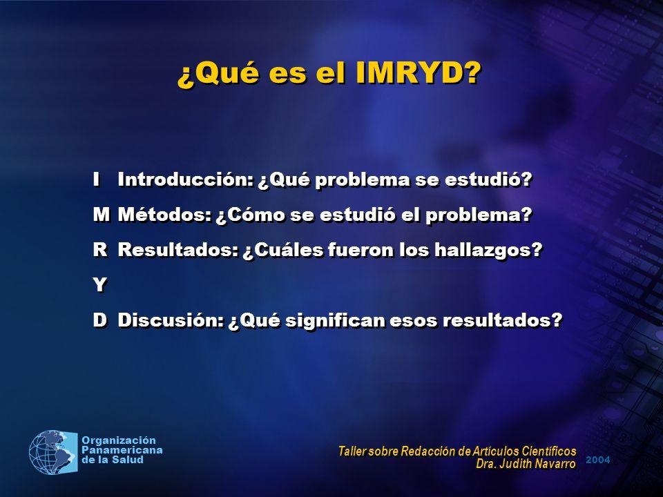 ¿Qué es el IMRYD I Introducción: ¿Qué problema se estudió