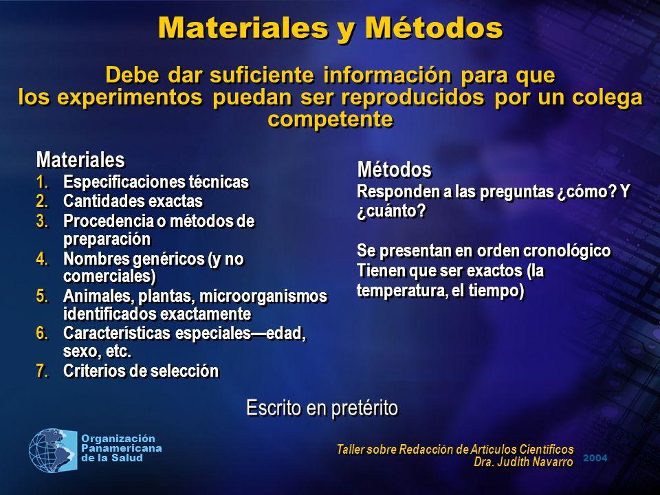 Materiales y Métodos Debe dar suficiente información para que los experimentos puedan ser reproducidos por un colega competente