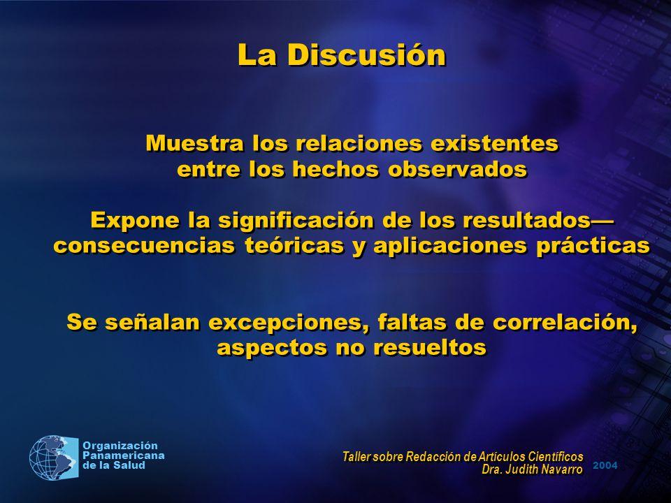 La Discusión Muestra los relaciones existentes