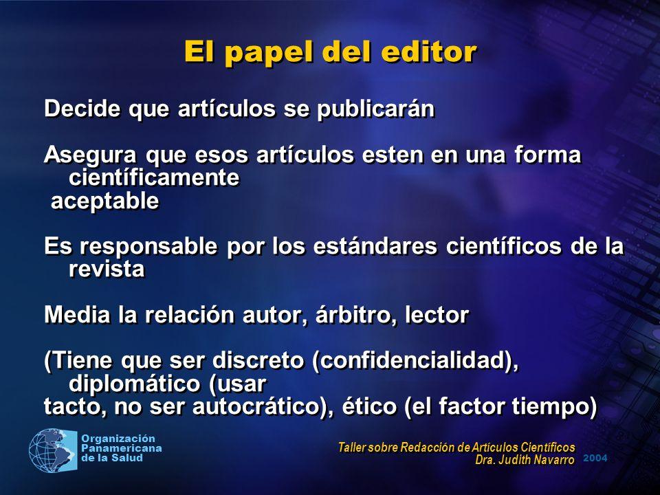 El papel del editor Decide que artículos se publicarán