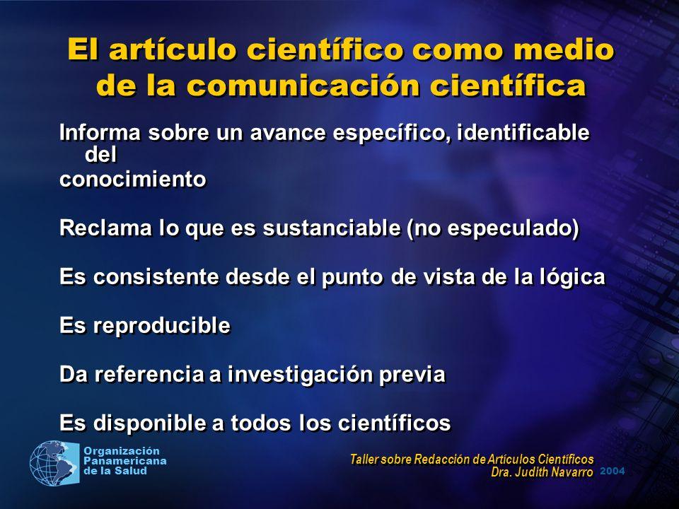 El artículo científico como medio de la comunicación científica