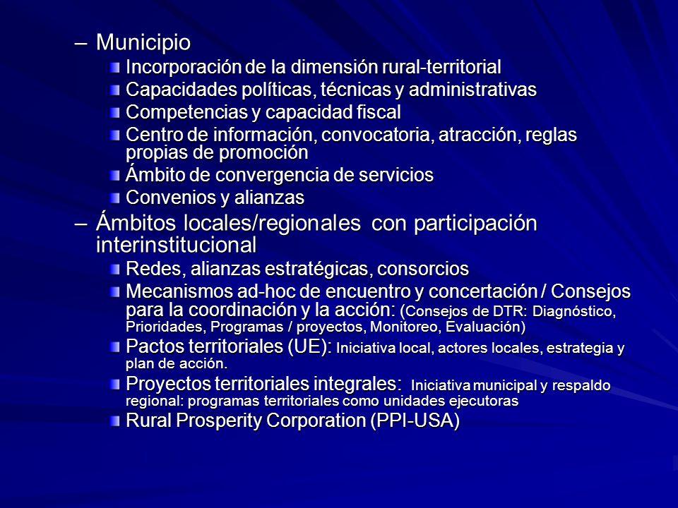Ámbitos locales/regionales con participación interinstitucional