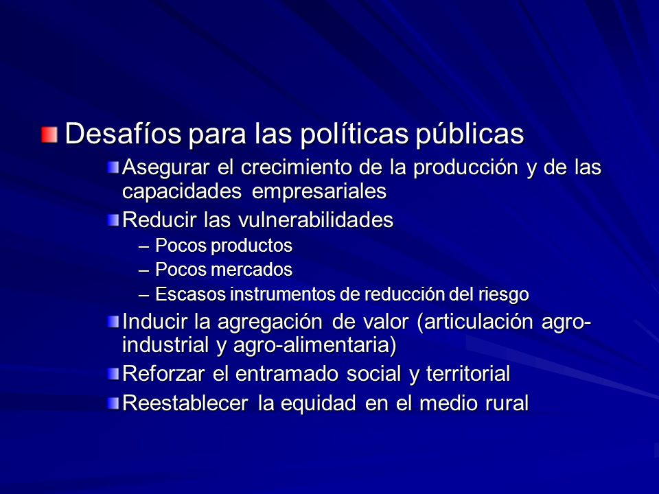 Desafíos para las políticas públicas