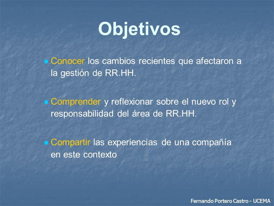 Objetivos Conocer los cambios recientes que afectaron a la gestión de RR.HH.