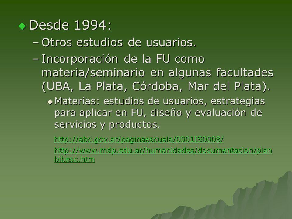 Desde 1994: Otros estudios de usuarios.