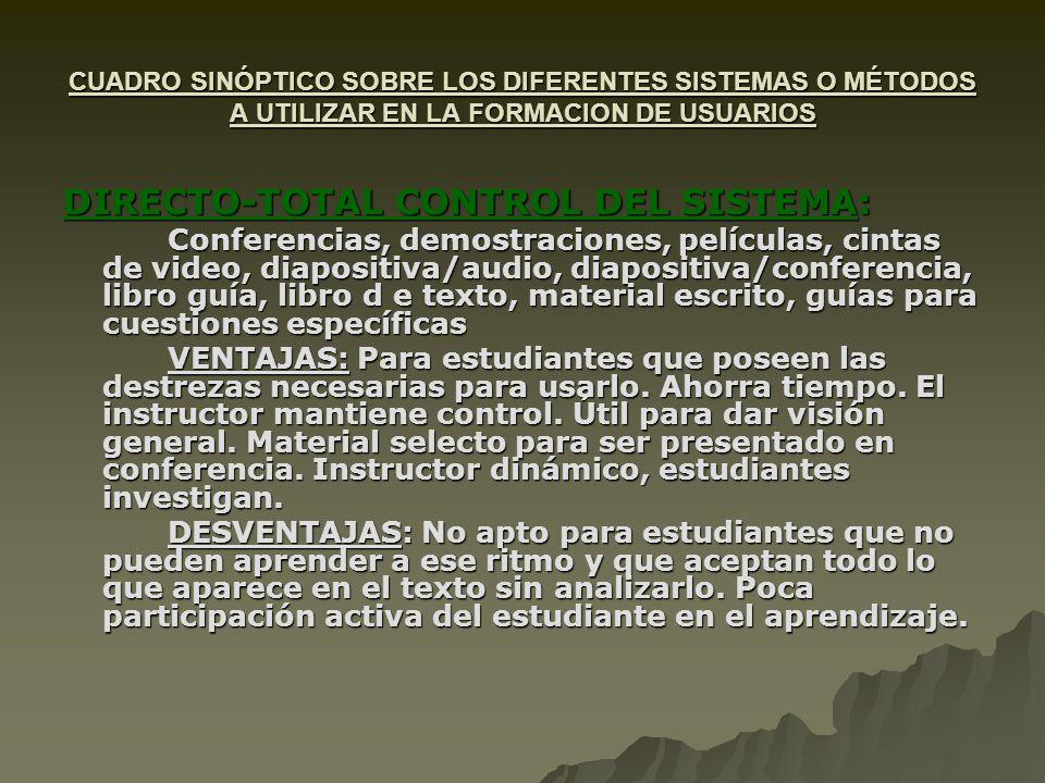 DIRECTO-TOTAL CONTROL DEL SISTEMA: