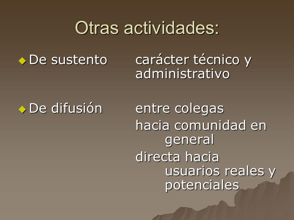 Otras actividades: De sustento carácter técnico y administrativo