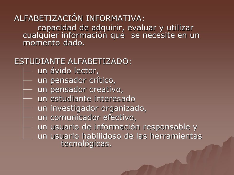 ALFABETIZACIÓN INFORMATIVA: