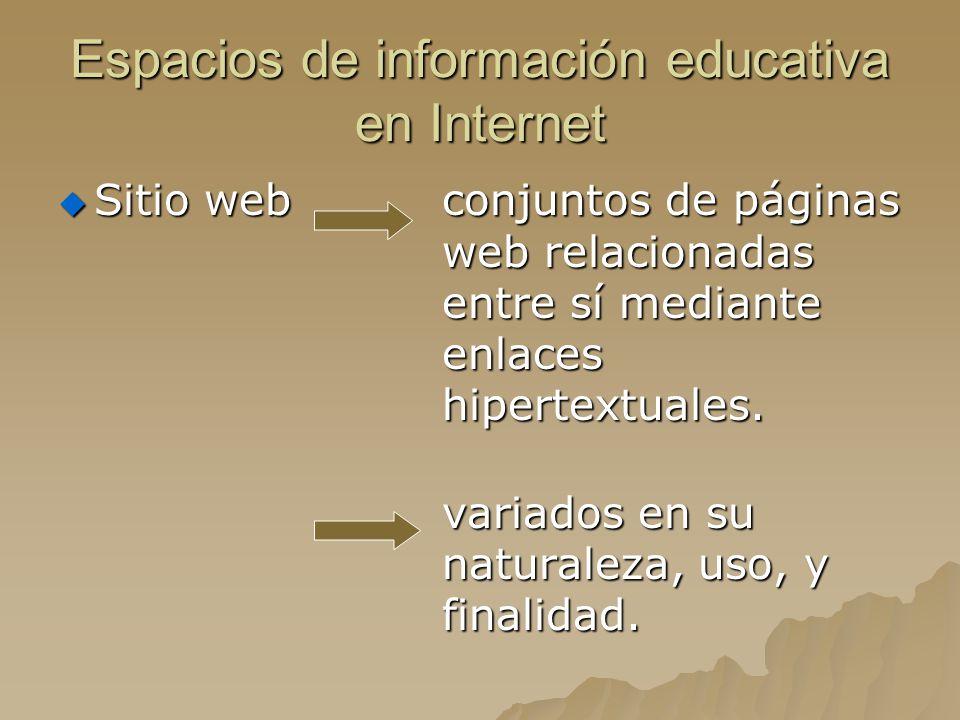 Espacios de información educativa en Internet