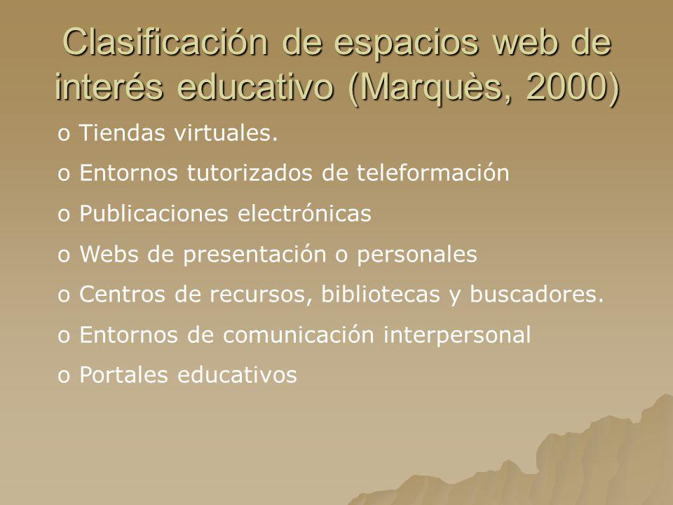 Clasificación de espacios web de interés educativo (Marquès, 2000)