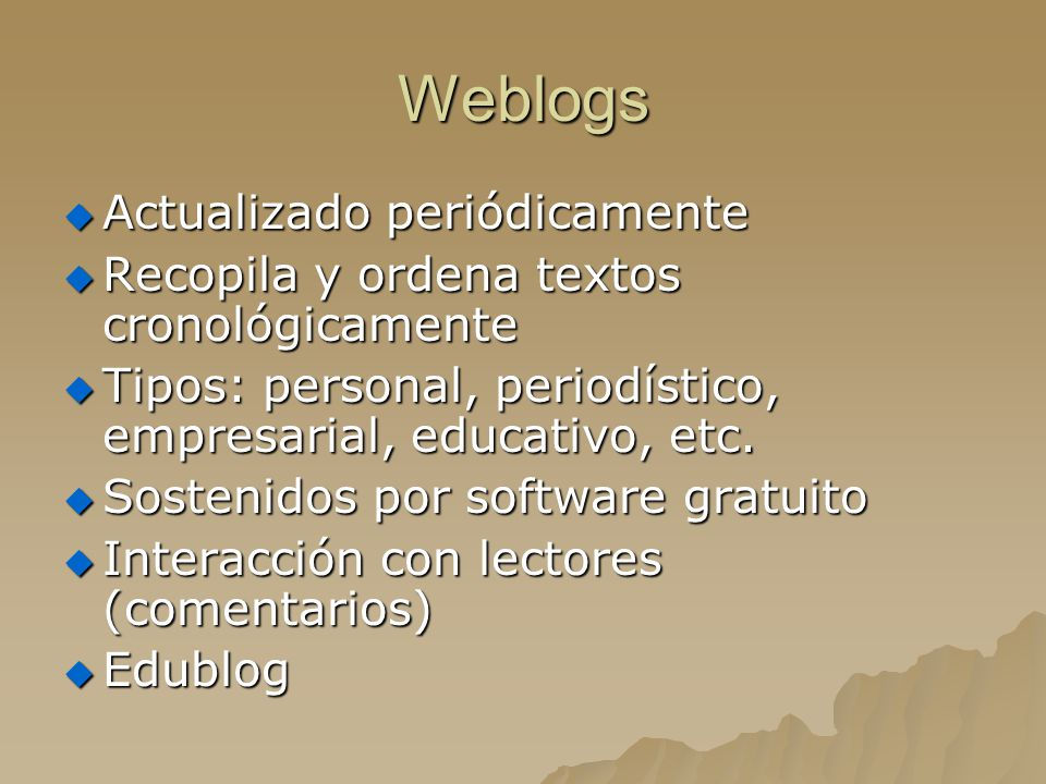 Weblogs Actualizado periódicamente