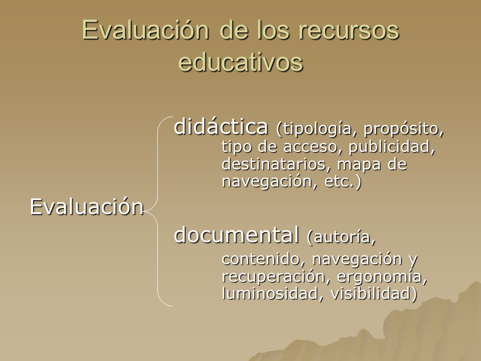 Evaluación de los recursos educativos