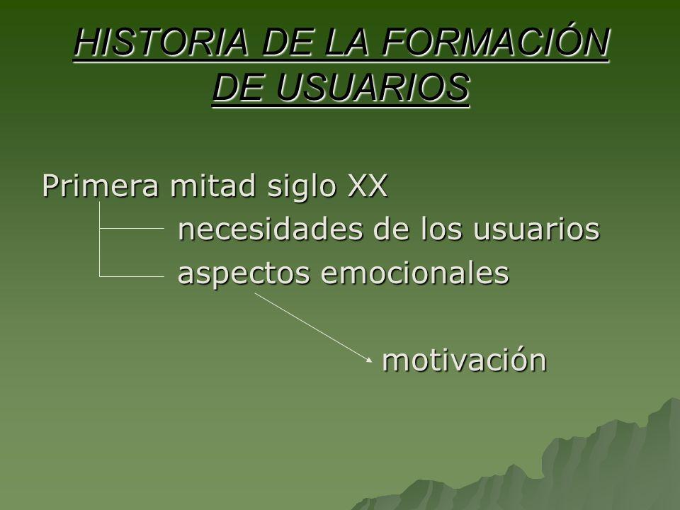 HISTORIA DE LA FORMACIÓN DE USUARIOS