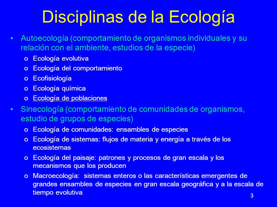 Disciplinas de la Ecología