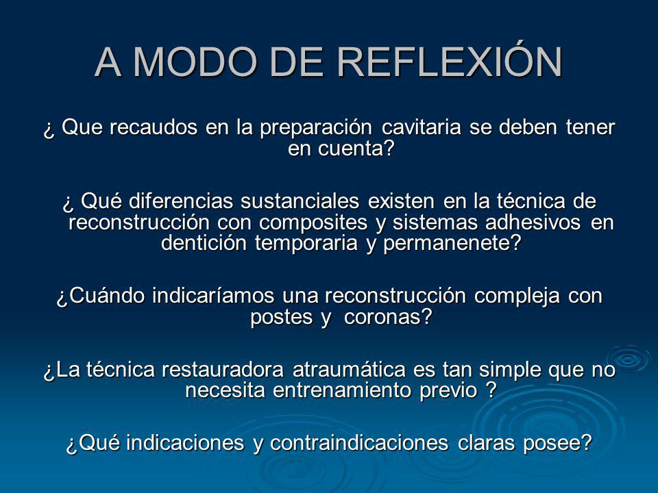 A MODO DE REFLEXIÓN ¿ Que recaudos en la preparación cavitaria se deben tener en cuenta
