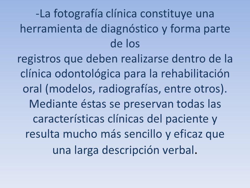-La fotografía clínica constituye una herramienta de diagnóstico y forma parte de los registros que deben realizarse dentro de la clínica odontológica para la rehabilitación oral (modelos, radiografías, entre otros).