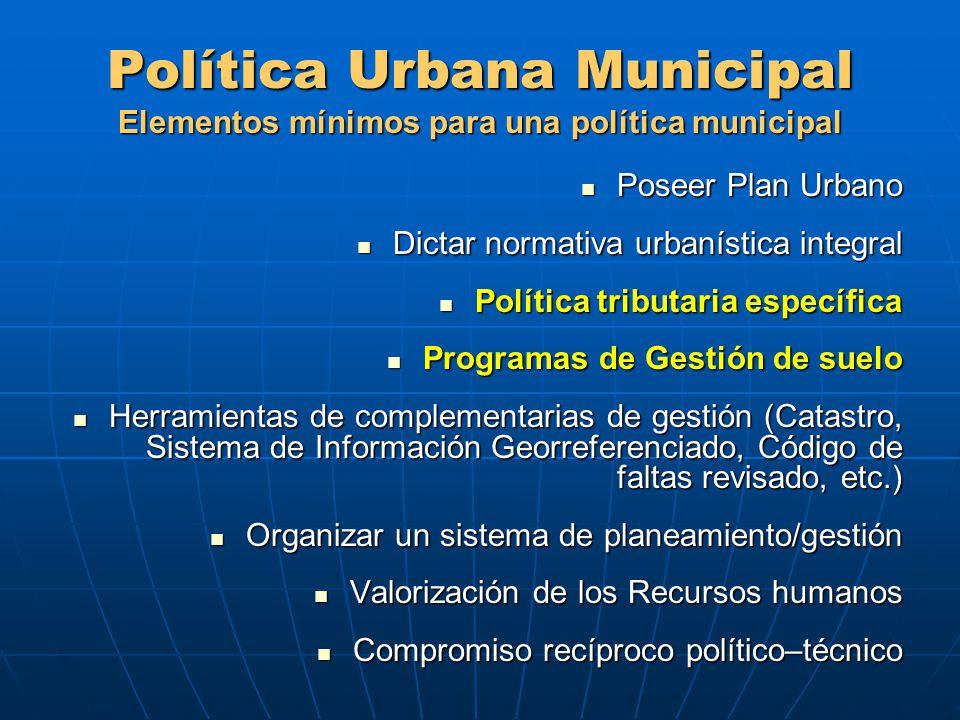 Política Urbana Municipal Elementos mínimos para una política municipal