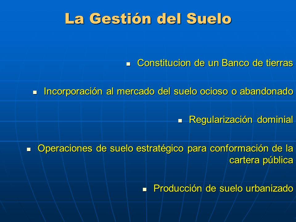 La Gestión del Suelo Constitucion de un Banco de tierras
