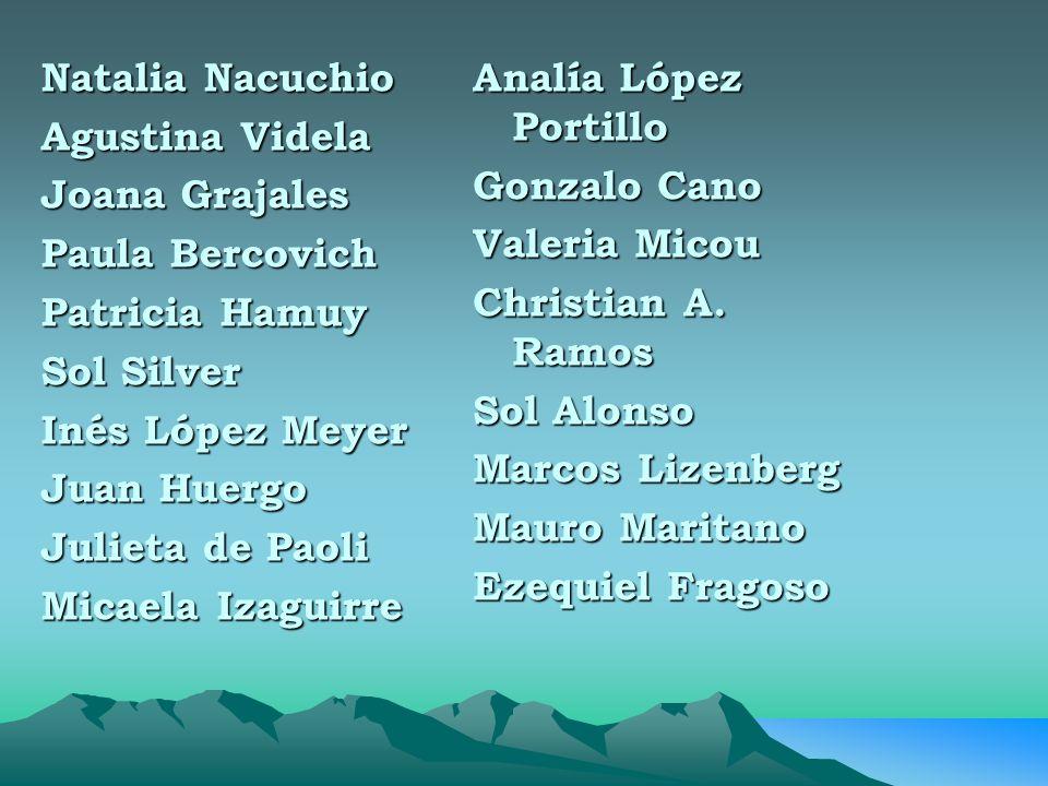Natalia Nacuchio Agustina Videla. Joana Grajales. Paula Bercovich. Patricia Hamuy. Sol Silver. Inés López Meyer.
