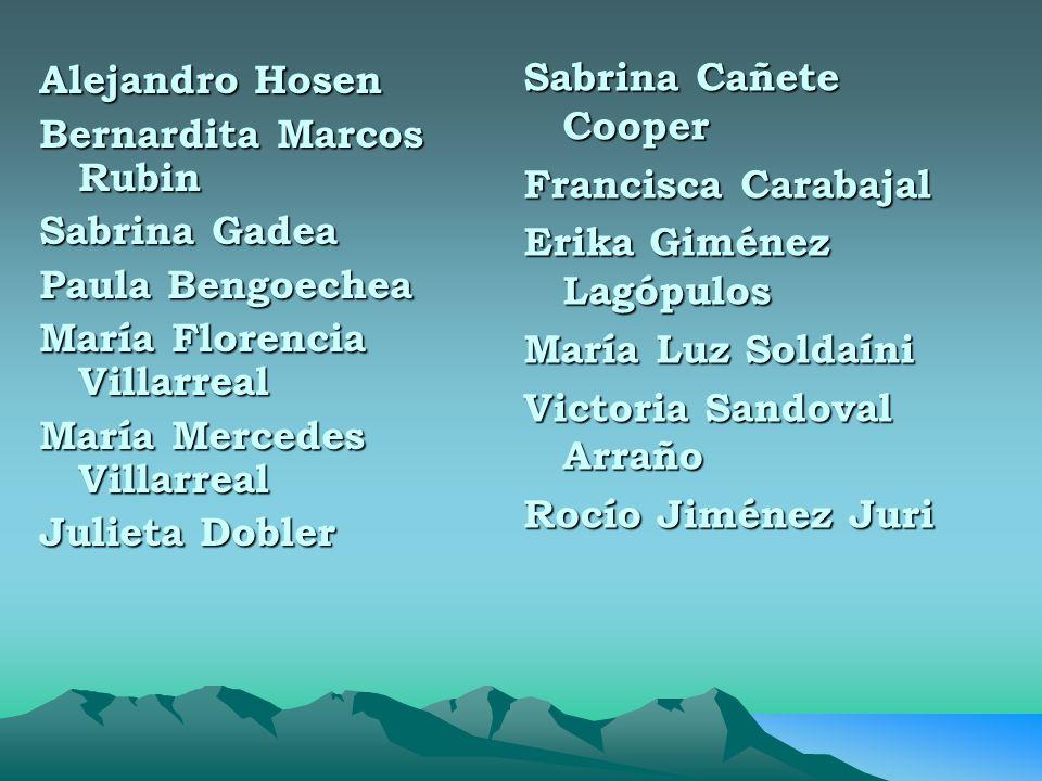 Sabrina Cañete Cooper Francisca Carabajal. Erika Giménez Lagópulos. María Luz Soldaíni. Victoria Sandoval Arraño.