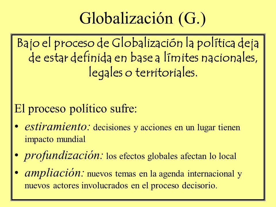 Globalización (G.) Bajo el proceso de Globalización la política deja de estar definida en base a límites nacionales, legales o territoriales.
