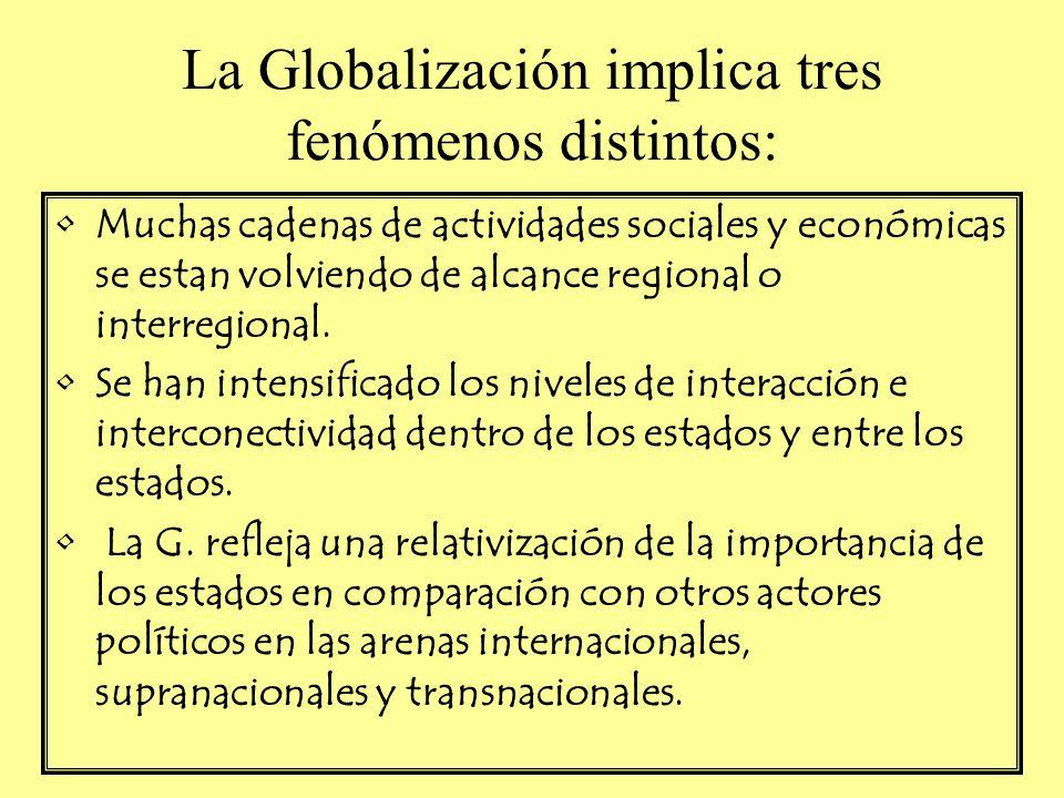 La Globalización implica tres fenómenos distintos: