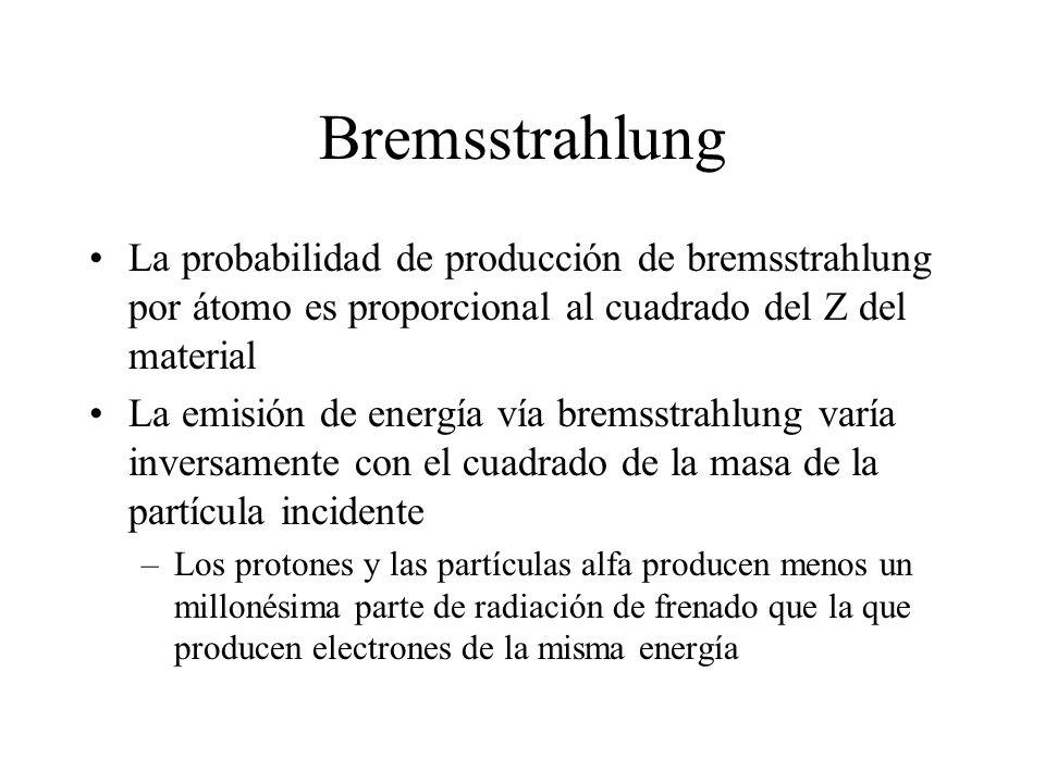 Bremsstrahlung La probabilidad de producción de bremsstrahlung por átomo es proporcional al cuadrado del Z del material.