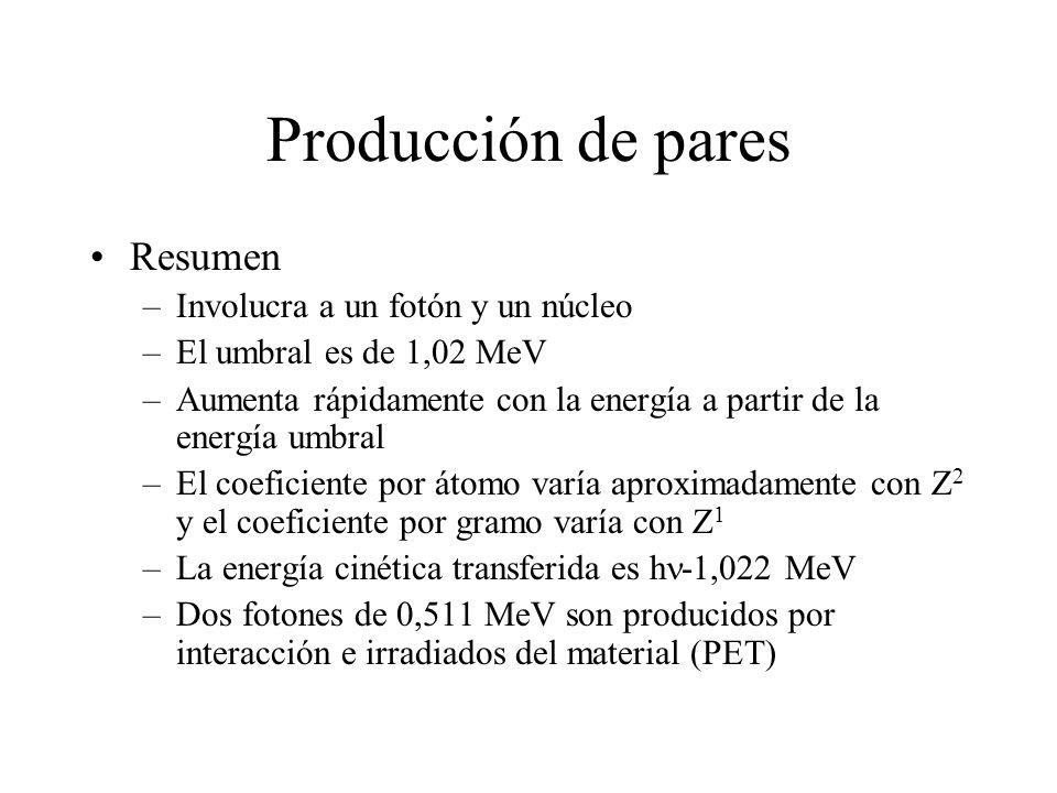 Producción de pares Resumen Involucra a un fotón y un núcleo