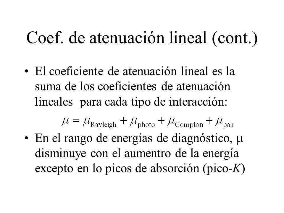 Coef. de atenuación lineal (cont.)
