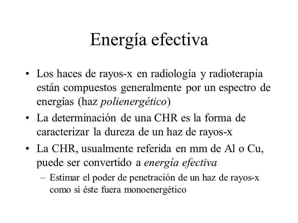 Energía efectiva Los haces de rayos-x en radiología y radioterapia están compuestos generalmente por un espectro de energías (haz polienergético)