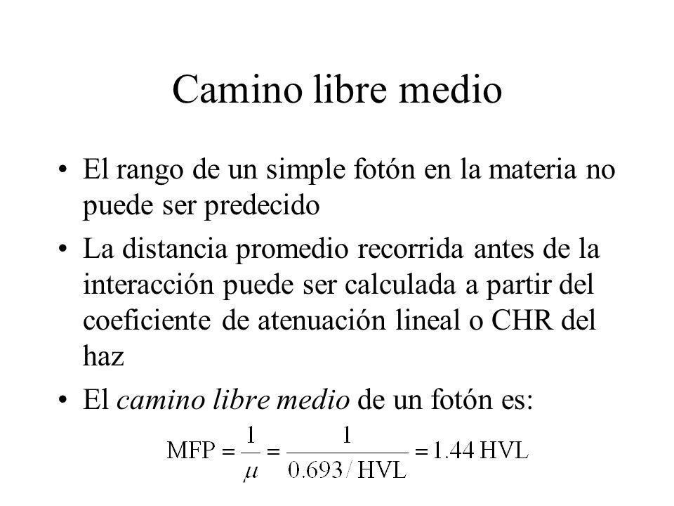 Camino libre medio El rango de un simple fotón en la materia no puede ser predecido.