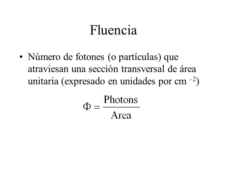 Fluencia Número de fotones (o partículas) que atraviesan una sección transversal de área unitaria (expresado en unidades por cm –2)