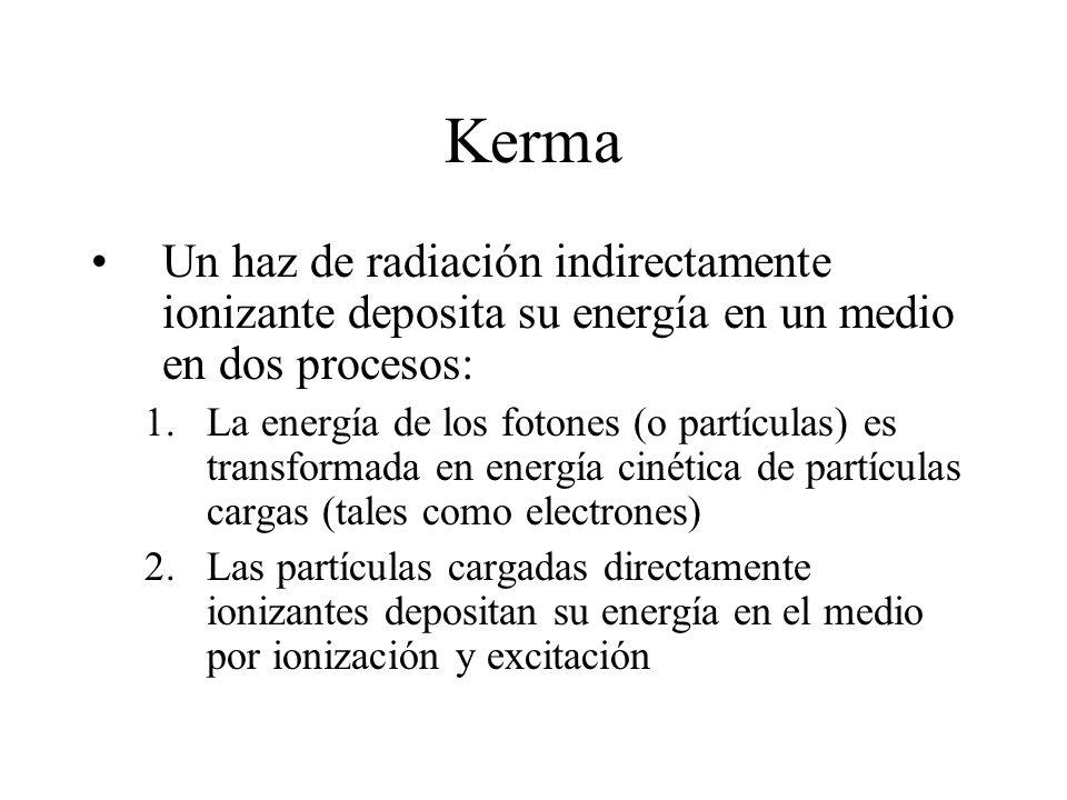 Kerma Un haz de radiación indirectamente ionizante deposita su energía en un medio en dos procesos: