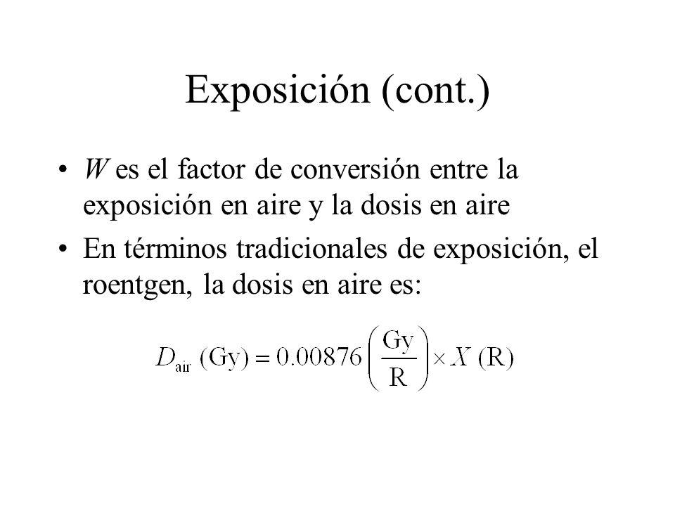 Exposición (cont.) W es el factor de conversión entre la exposición en aire y la dosis en aire.