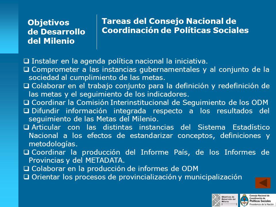 Tareas del Consejo Nacional de Coordinación de Políticas Sociales