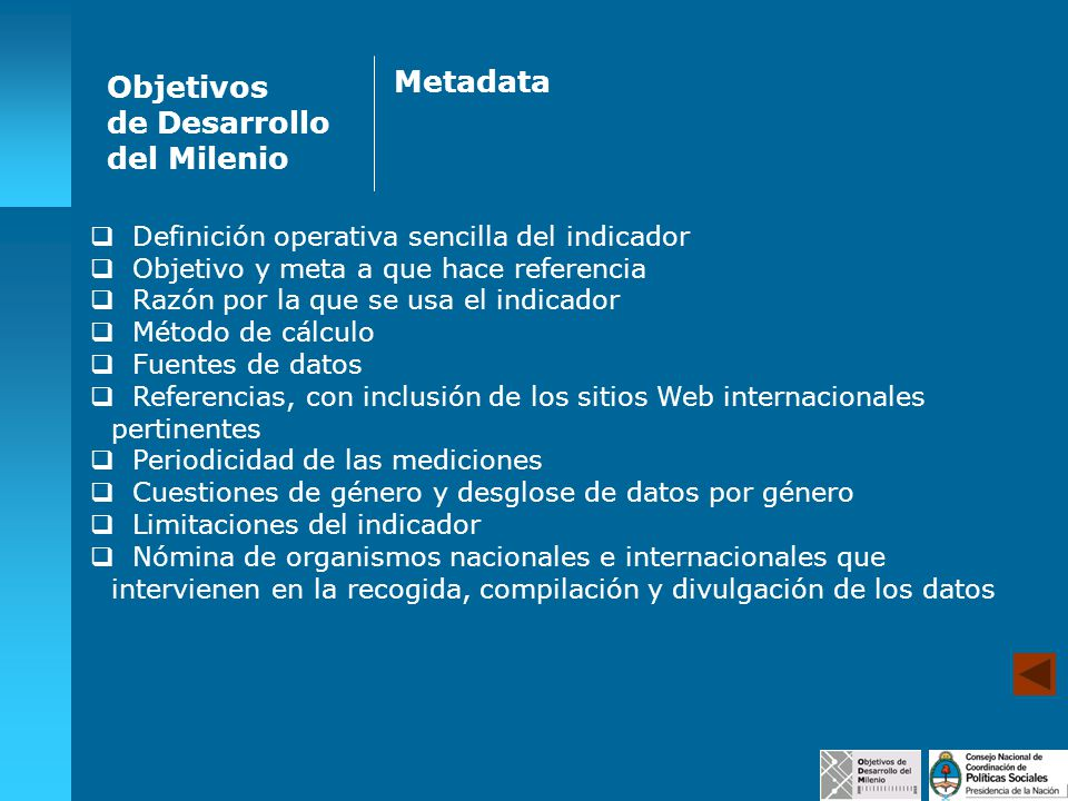 Metadata Objetivos de Desarrollo del Milenio