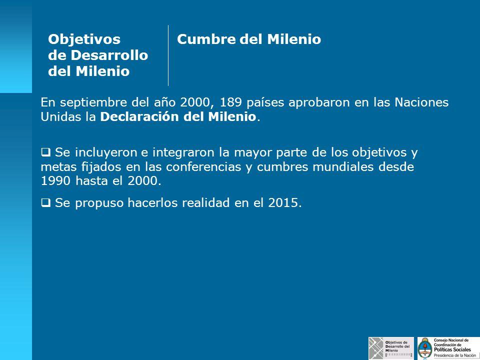 Objetivos de Desarrollo del Milenio Cumbre del Milenio
