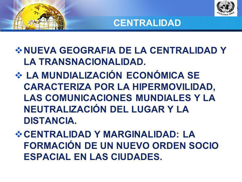 CENTRALIDAD NUEVA GEOGRAFIA DE LA CENTRALIDAD Y LA TRANSNACIONALIDAD.