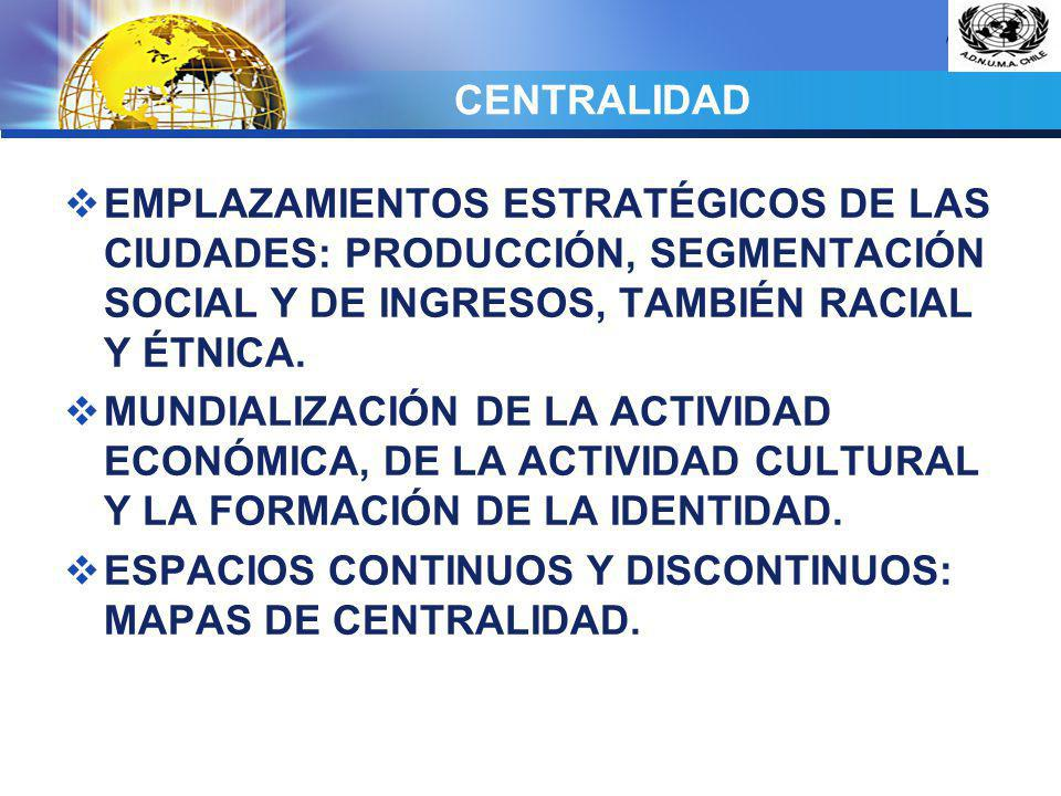 CENTRALIDAD EMPLAZAMIENTOS ESTRATÉGICOS DE LAS CIUDADES: PRODUCCIÓN, SEGMENTACIÓN SOCIAL Y DE INGRESOS, TAMBIÉN RACIAL Y ÉTNICA.