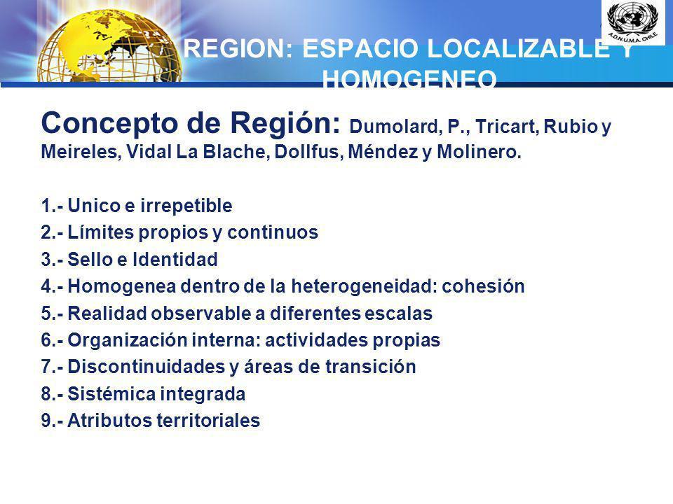 REGION: ESPACIO LOCALIZABLE Y HOMOGENEO
