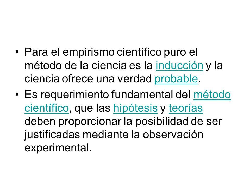Para el empirismo científico puro el método de la ciencia es la inducción y la ciencia ofrece una verdad probable.