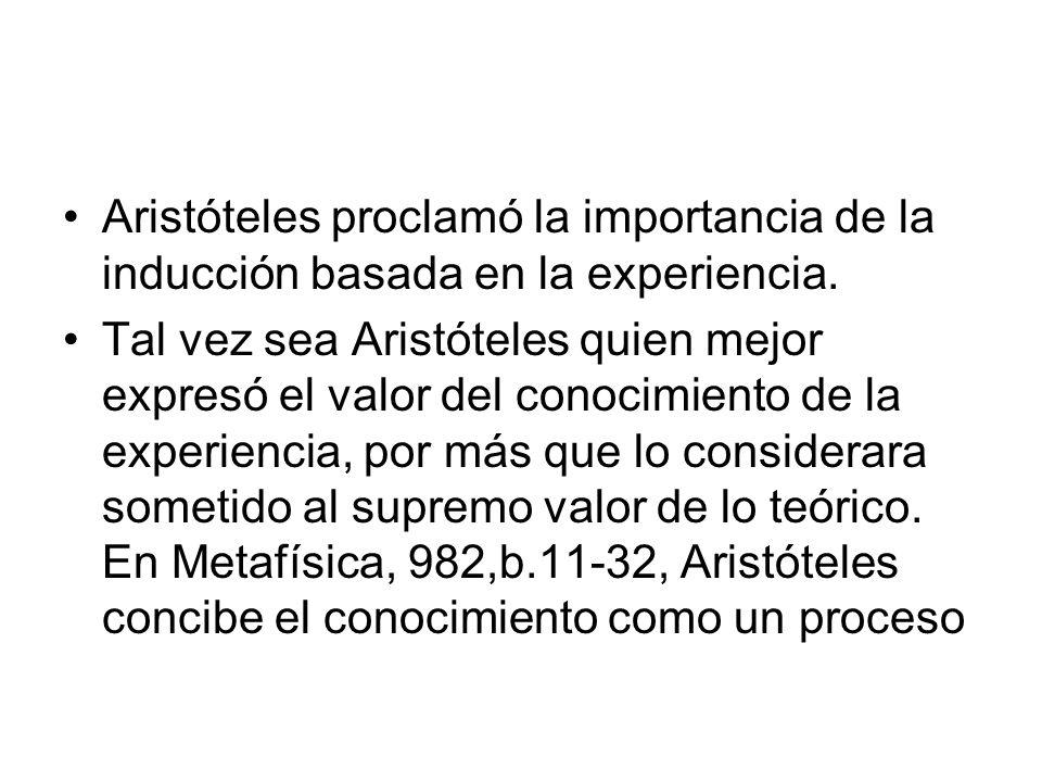 Aristóteles proclamó la importancia de la inducción basada en la experiencia.